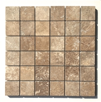 Honed and Filled Walnut 2x2 Travertine Mosaic