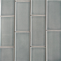 3x6 Mist Green Handmade Glossy Finish Crackled Ceramic Tile