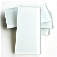 Powder White Shiny 3x6 Glass Tile
