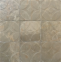 Amber Brown 4x4 Circa Carved in Marble Stone Tile