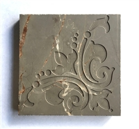 Amber Brown Floral Carved 4x4 Marble