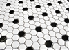 "White and Black 1"" Mix Hexagon Porcelain Mosaic Tile"