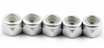 KYO1-N3043NA-S Kyosho Silver Aluminum Nylon Nut M3x4.3mm - Package of 5