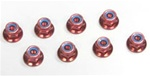 KYO1-N4056FN-R Kyosho Red Steel flanged Nylon Nut M4x5.6mm - package of 5