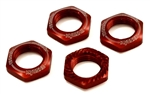KYOIFW472R Kyosho Inferno Serrated Wheel Nuts Red- Package of 4