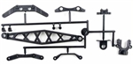 KYOLA212C Kyosho Plastic Parts Set - Chassis Stiffeners, Steering Plates, Battery Strap, Outfrive Clamp (ZX-5, SP, FS)