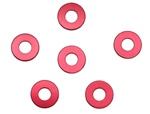 KYOW0145R Kyosho 3mm x 7mm x 1mm Red Aluminum  Collars - Package of 6