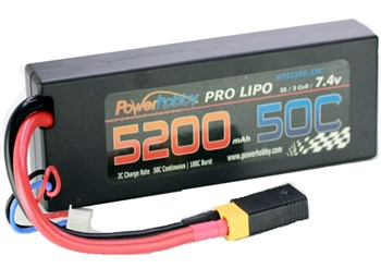 PHB2S520050CXT60APT 5200mAh 7.4V 2S 50C LiPo Battery with Hardwired XT60