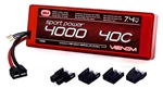 VNR15056 Venom 2s 7.4V 4000mAh 40C SPORT POWER 2-CELL LiPo Hard Case Battery with Universal Connectors