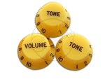 Set of 3 Premium Yellow UFO Knobs – Suitable for CTS Split shaft pots