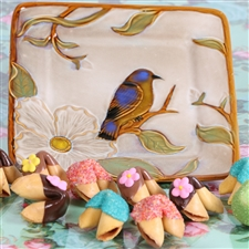 The bluebird of happiness gift is one dozen fortune cookies dipped and decorated for spring.