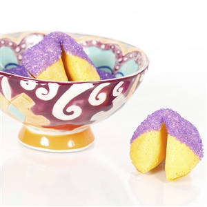 All natural vanilla fortune cookies hand dipped in white chocolate then decked out in purple amethyst bling.