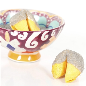 All natural vanilla fortune cookies hand dipped in white chocolate then decked out in silver bling.