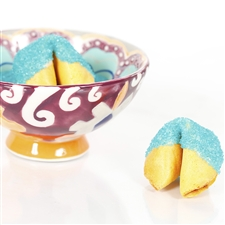 All natural vanilla fortune cookies hand dipped in white chocolate then decked out in blue turquoise bling.