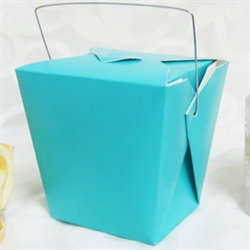 Turquoise Colored Chinese Takeout Boxes in 2 great sizes perfect for favors.