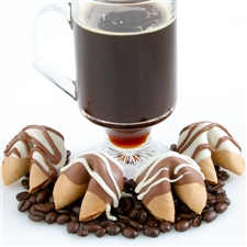 Chocolate Covered Fortune cookies in gourmet cappuccino flavor.