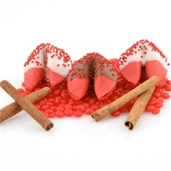 Cinnamon flavored fortune cookies covered in milk chocolate and white chocolate with red sprinkles. Custom messages included in all gourmet fortune cookies.
