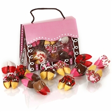 This Dandy Dozen tote of chocolate covered fortune cookies is the perfect valentine's day gift for your sweetheart.
