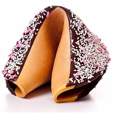 This amazing giant fortune cookie is perfect for October breast cancer awareness events. Dipped in milk chocolate and decorated with pink ribbon sprinkles our giant fortune cookies are always baked fresh right here in our bakery.