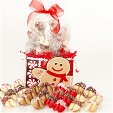 Chocolate covered fortune cookies in assorted holiday flavors and colors. Each cookie is individually wrapped with Holiday messages of good fortune and good cheer.