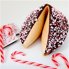 This exclusive peppermint flavored gigantic fortune cookie is a refreshing treat. Chocolate covered with your foot long custom fortune inside this edible gift is sure to please.