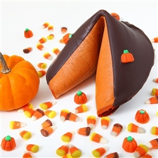 Homemade Pumpkin Pie Flavored Giant Fortune Cookie, pumpkin colored and flavored covered in chocolate!