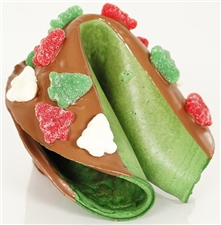 A Fancy Fortune Cookies exclusive: green peppermint giant holiday fortune cookie, chocolate covered and decorated with candy trees.