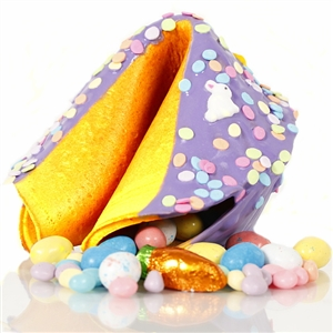 This Easter Gigantic fortune cookie is chocolate covered and decorated with pastel sprinkles for springing into spring.
