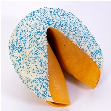 Hanukkah Giant fortune cookie chocolate covered with festive blue and white Hanukkah sprinkles. A unique edible gift just in time for Hanukkah.