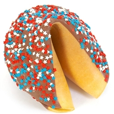 A patriotic edible gift, this gigantic fortune cookie is chocolate covered and decorated with red white and blue stars, your foot long fortune is included!