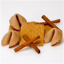 The taste of childhood returns with this graham cracker flavored fortune cookie, personalized with your fortune cookie messages.