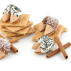 Gourmet fortune cookies in our yummy graham cracker flavor your personalized sayings included and choice of sprinkles.