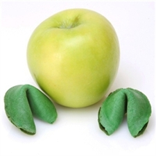 Gourmet fortunes cookies with custom messages inside. Our green apple flavored fortune cookies are perfect for any green event or wedding favors.