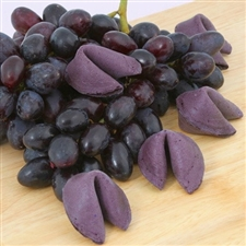 Gourmet fortune cookies come with your custom sayings inside. Our grape flavored fortune cookies are a lot like a grape soda.