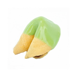 Medium Green Colored Chocolate Covered Fortune Cookies!