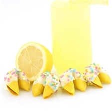 Lemon Flavored Fortune Cookie Chocolate Covered with Your choice of Sprinkles and free Custom Messages.