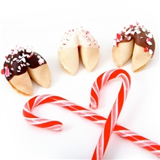 White mint flavored fortune cookies with your custom sayings inside. Gourmet fortune cookies covered in chocolate and individually wrapped.