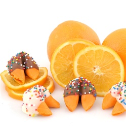 Orange flavored fortune cookies with custom sayings inside. Your chocolate covered fortune cookies are baked fresh to order the day they ship.