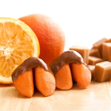 Orange Flavored Fortune Cookies Dipped in Caramel.