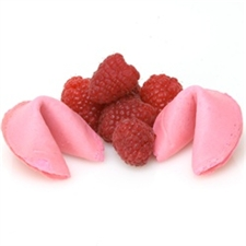 Gourmet fortune cookies with a sweet and subtle raspberry flavor. We bake custom fortune cookies fresh to order and our flavored fortune cookies are no exception!