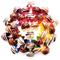We have a rainbow assortment of flavored fortune cookies. These are samples of our chocolate covered fortune cookies.