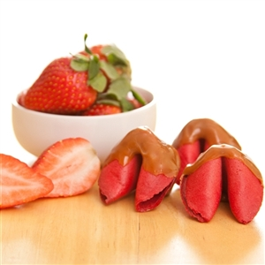 Caramel Strawberry Flavored Fortune Cookies Dipped in Caramel.