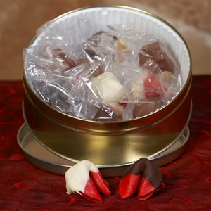 Unique fortune cookie gift, chocolate covered cherry fortune cookies in a keepsake gift tin.