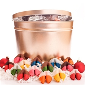 Chocolate covered fortune cookies in assorted rainbow flavors and colors. Each cookie is individually wrapped with traditional good luck fortunes inside.