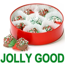 Mint and cherry flavored fortune cookies dipped in assorted chocolates with Christmas sprinkles.
