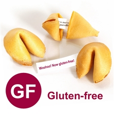 Gluten Free fortune cookies custom baked with your messages inside. Same classic vanilla flavor but without the gluten.