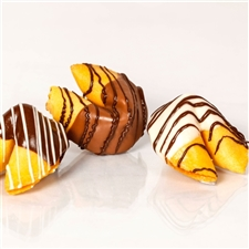 Traditional Vanilla Fortune Cookies covered in milk, white and dark chocolate.
