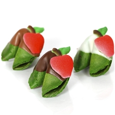 Fortune cookies dipped in chocolate and decorated with adorable apples. Pick your fortune cookie flavor and customize the sayings inside.