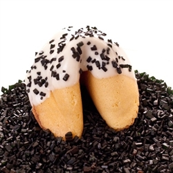 Custom fortune cookies in traditional vanilla flavor hand-dipped in your choice of milk, white or dark chocolate. Each fortune cookie is sprinkled with black sprinkles.
