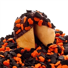 Traditional vanilla fortune cookies covered in dark chocolate with spooky bats and pumpkins! Also choose from milk and white chocolate.